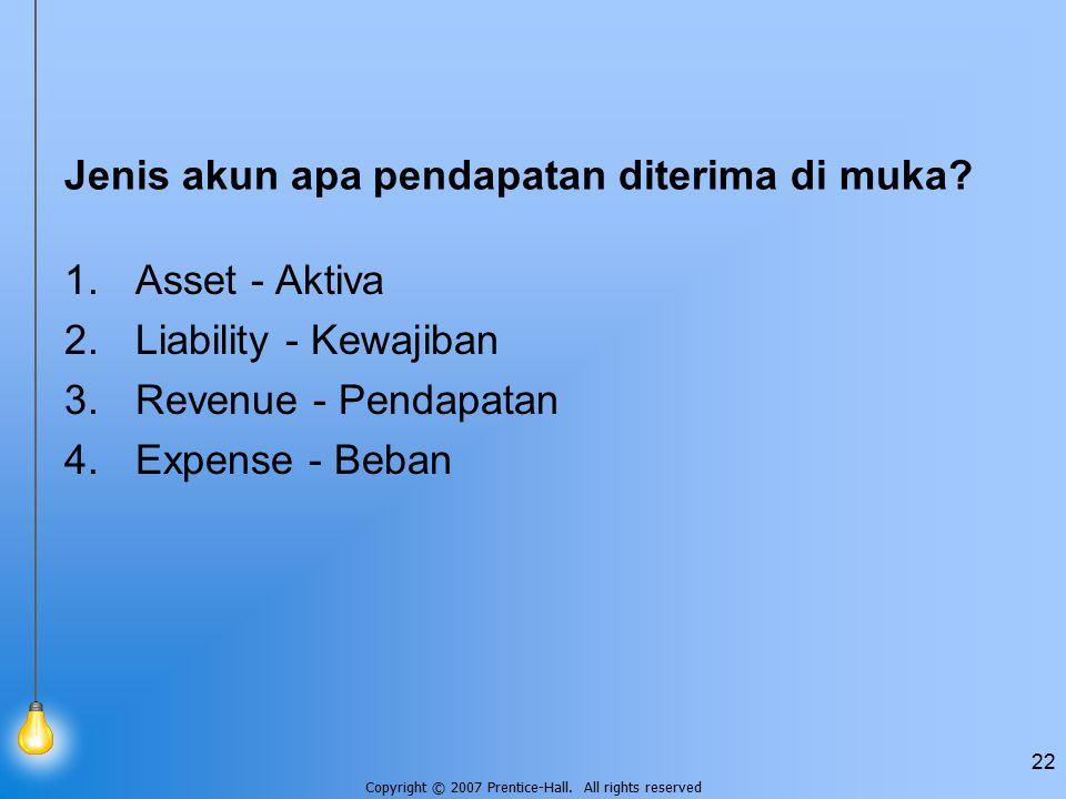 Jenis akun apa pendapatan diterima di muka