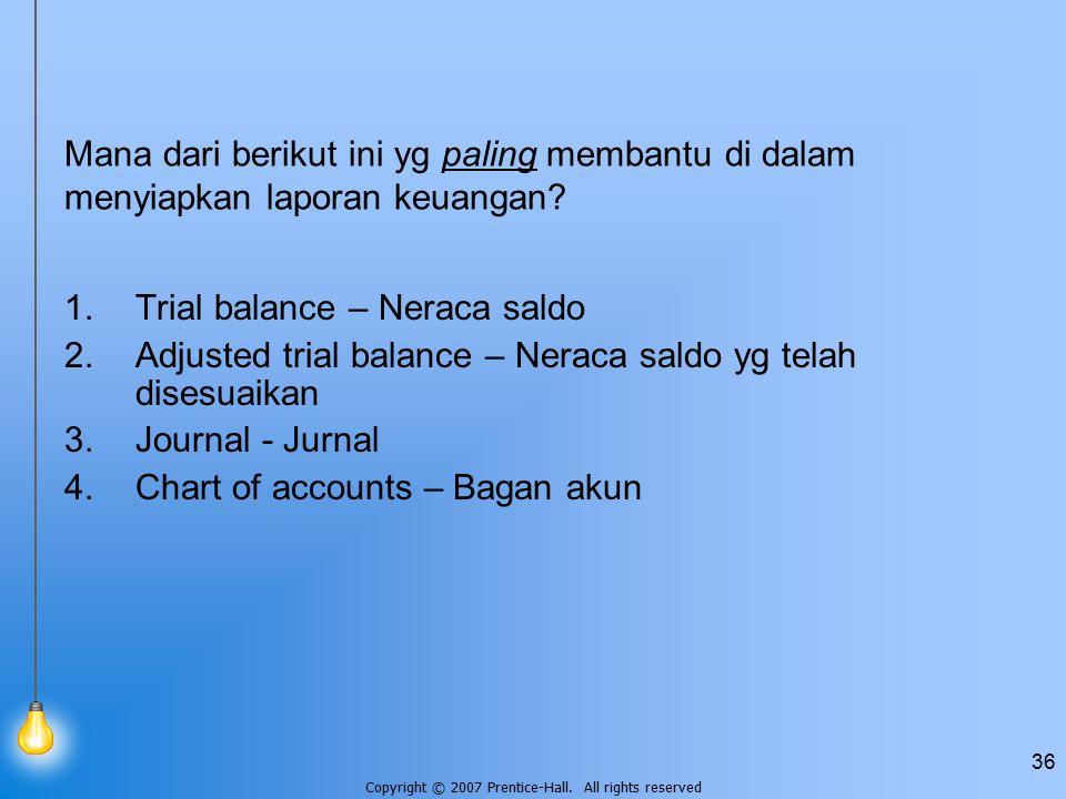 Mana dari berikut ini yg paling membantu di dalam menyiapkan laporan keuangan