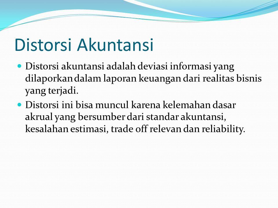 Distorsi Akuntansi Distorsi akuntansi adalah deviasi informasi yang dilaporkan dalam laporan keuangan dari realitas bisnis yang terjadi.