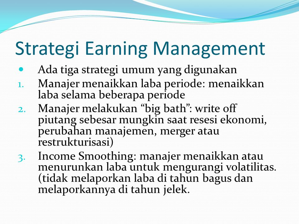 Strategi Earning Management