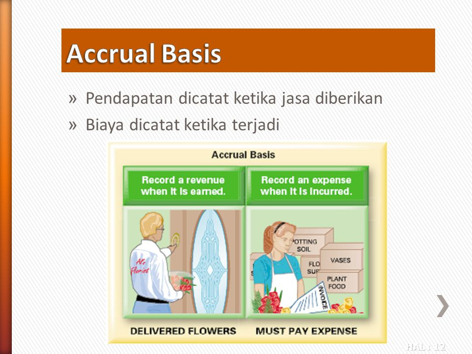 Accrual Basis Pendapatan dicatat ketika jasa diberikan