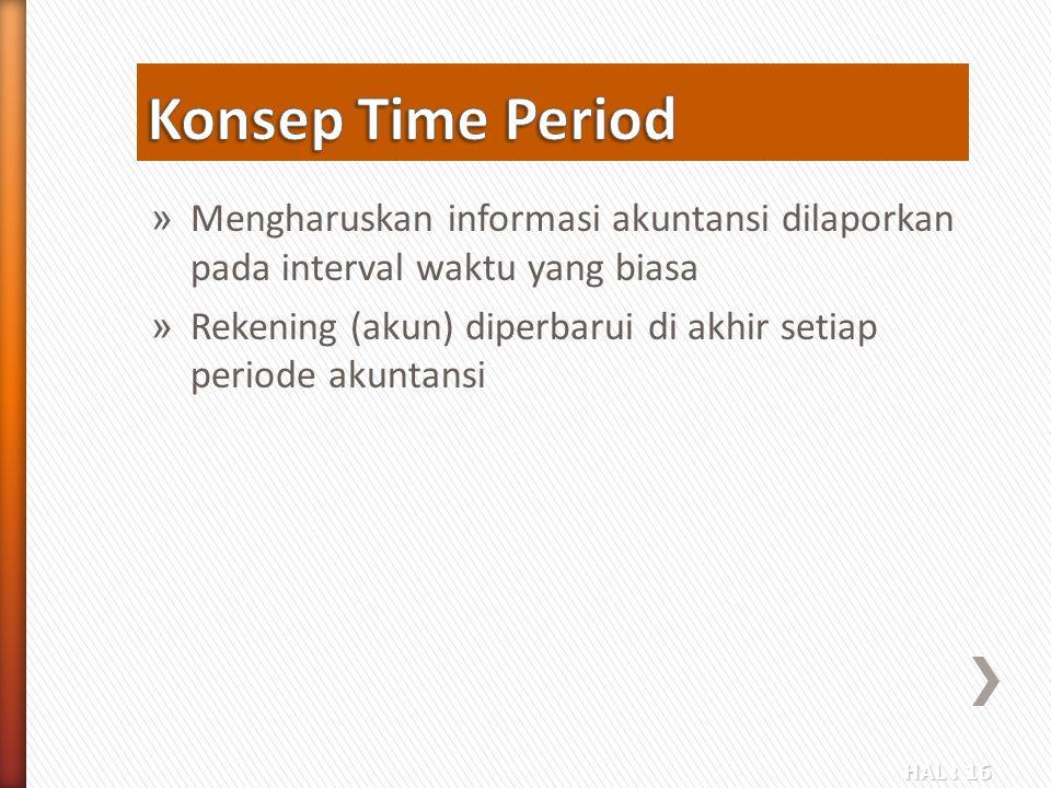Konsep Time Period Mengharuskan informasi akuntansi dilaporkan pada interval waktu yang biasa.