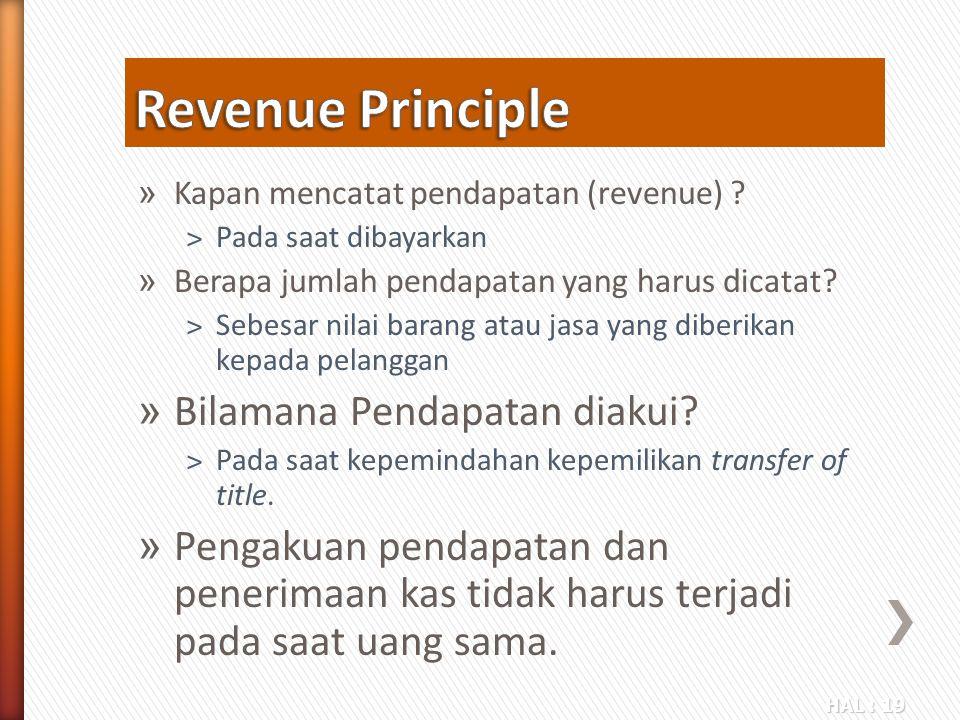 Revenue Principle Bilamana Pendapatan diakui