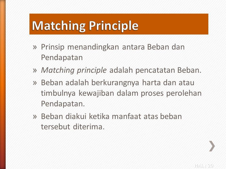 Matching Principle Prinsip menandingkan antara Beban dan Pendapatan