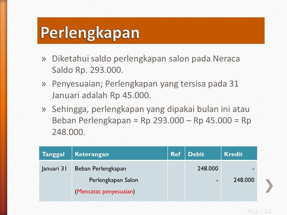 Perlengkapan Diketahui saldo perlengkapan salon pada Neraca Saldo Rp. 293.000.