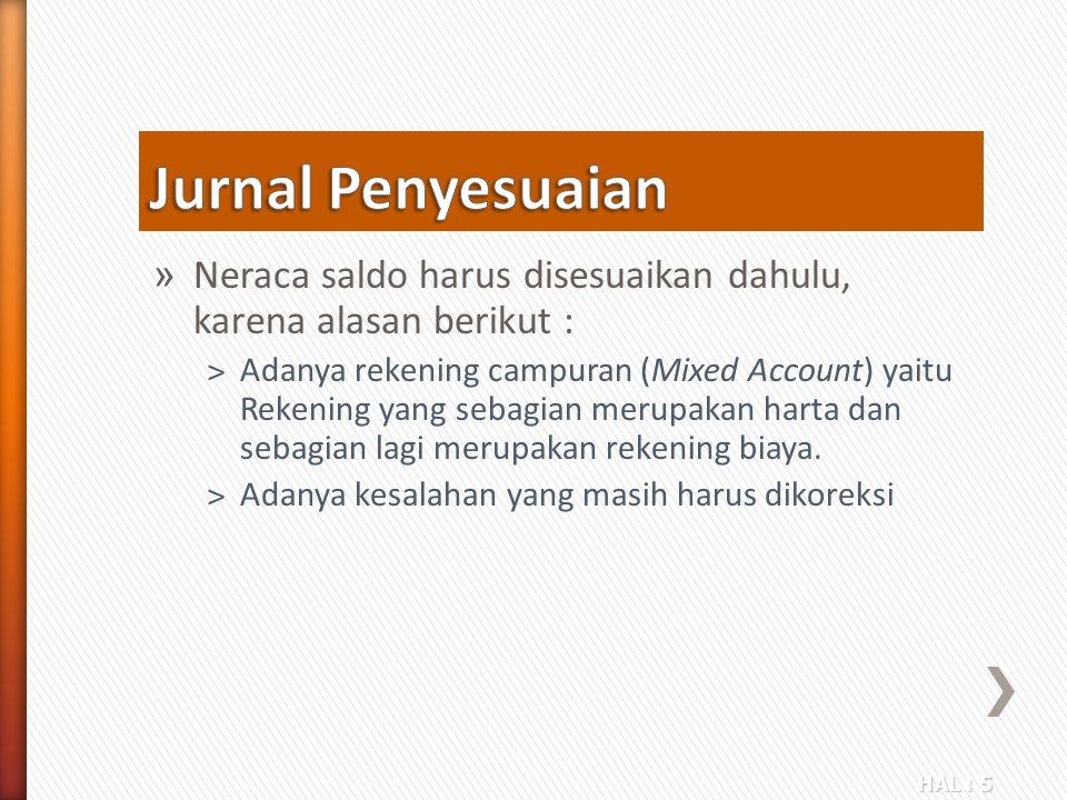 Jurnal Penyesuaian Neraca saldo harus disesuaikan dahulu, karena alasan berikut :