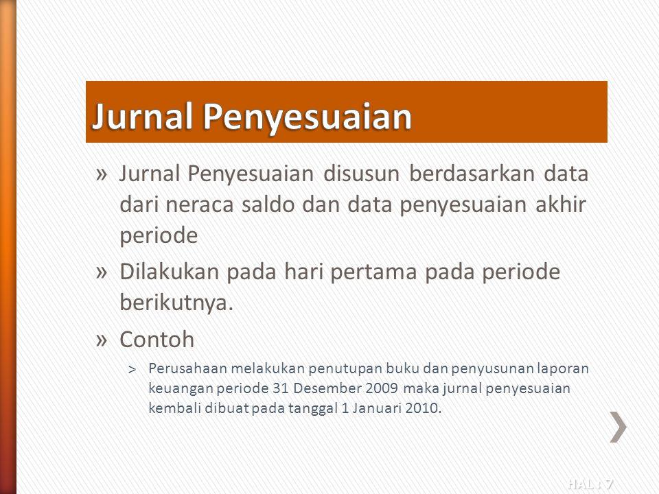 Jurnal Penyesuaian Jurnal Penyesuaian disusun berdasarkan data dari neraca saldo dan data penyesuaian akhir periode.