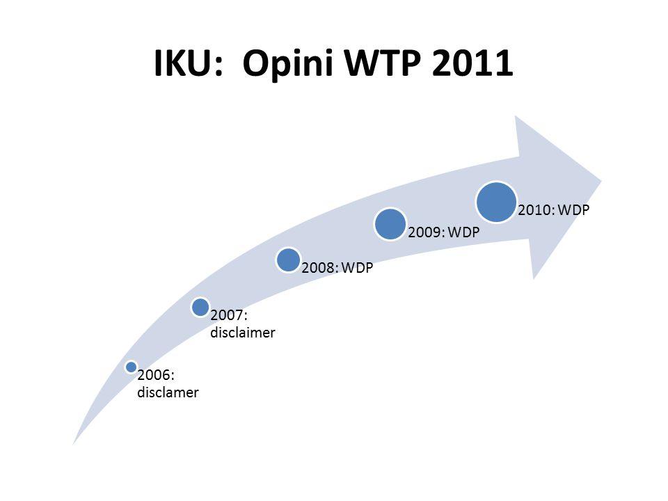 IKU: Opini WTP 2011 2006: disclamer 2007: disclaimer 2008: WDP