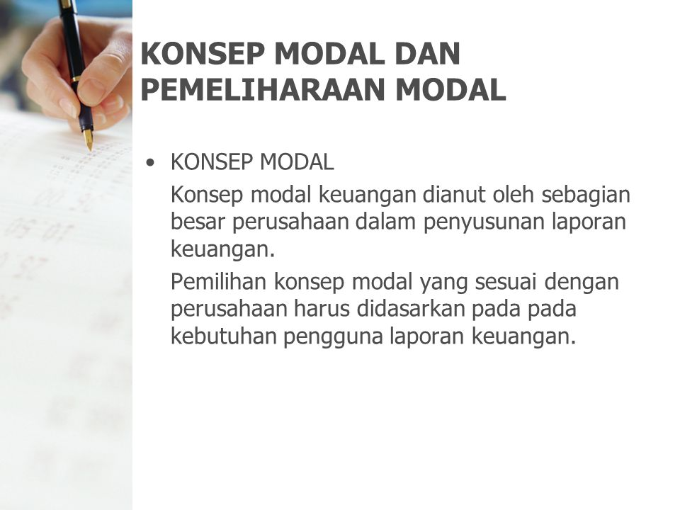 KONSEP MODAL DAN PEMELIHARAAN MODAL