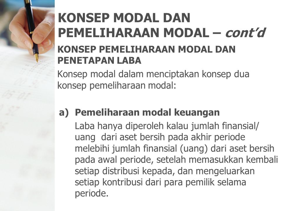 KONSEP MODAL DAN PEMELIHARAAN MODAL – cont'd