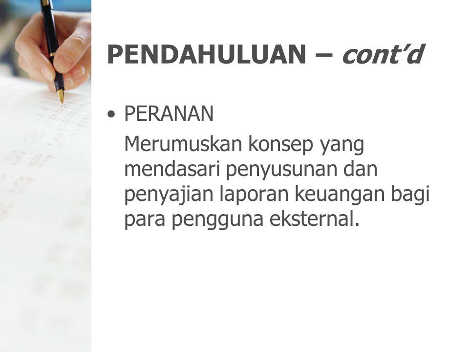 PENDAHULUAN – cont'd PERANAN