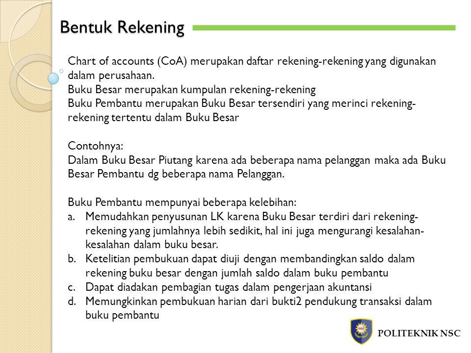Bentuk Rekening Chart of accounts (CoA) merupakan daftar rekening-rekening yang digunakan dalam perusahaan.