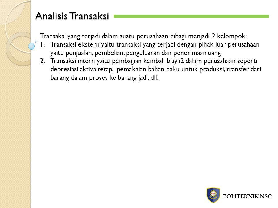 Analisis Transaksi Transaksi yang terjadi dalam suatu perusahaan dibagi menjadi 2 kelompok: