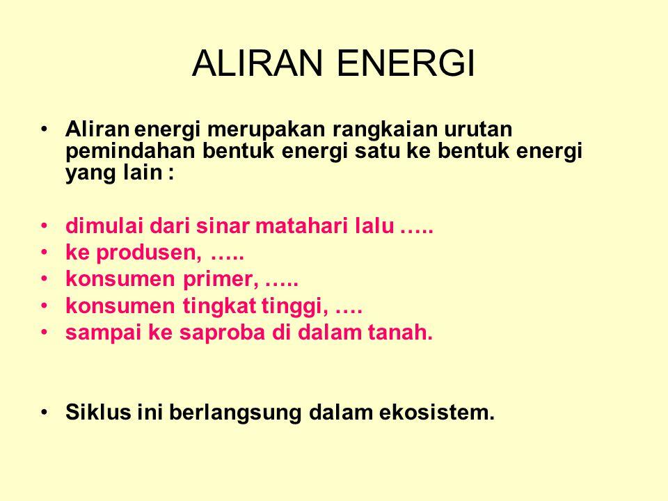 ALIRAN ENERGI Aliran energi merupakan rangkaian urutan pemindahan bentuk energi satu ke bentuk energi yang lain :