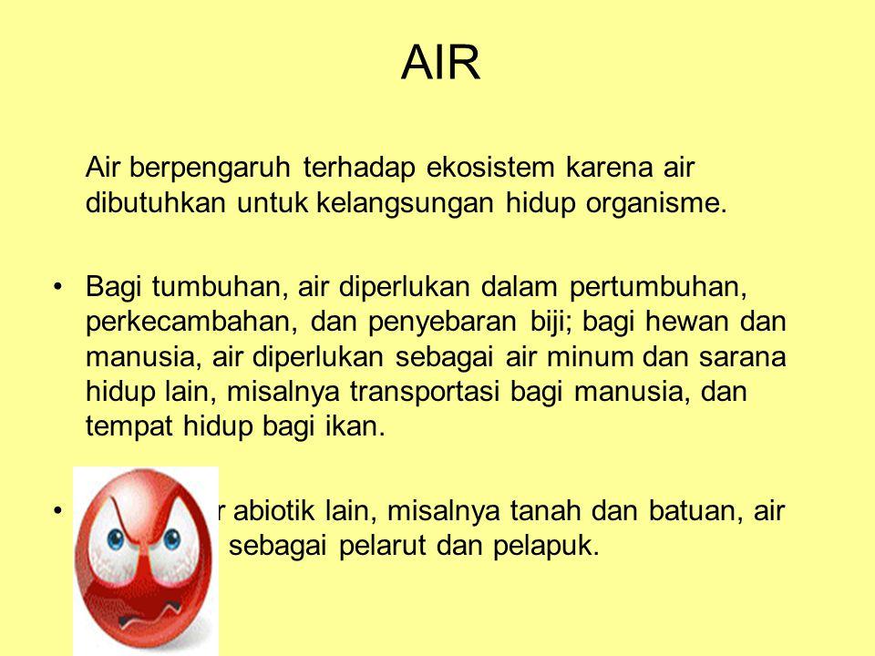 AIR Air berpengaruh terhadap ekosistem karena air dibutuhkan untuk kelangsungan hidup organisme.