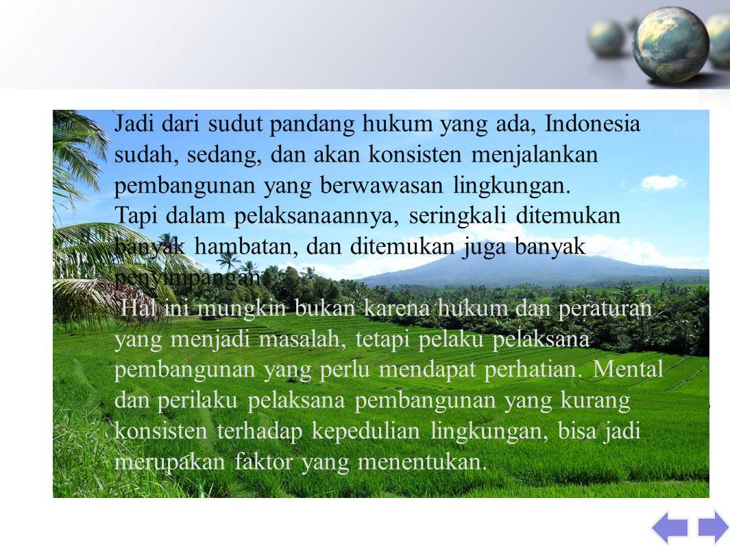Jadi dari sudut pandang hukum yang ada, Indonesia sudah, sedang, dan akan konsisten menjalankan pembangunan yang berwawasan lingkungan.