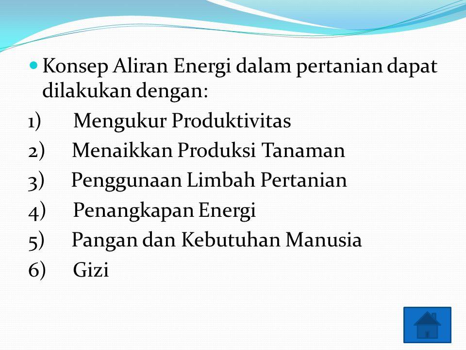 Konsep Aliran Energi dalam pertanian dapat dilakukan dengan: