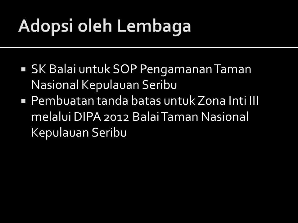 Adopsi oleh Lembaga SK Balai untuk SOP Pengamanan Taman Nasional Kepulauan Seribu.