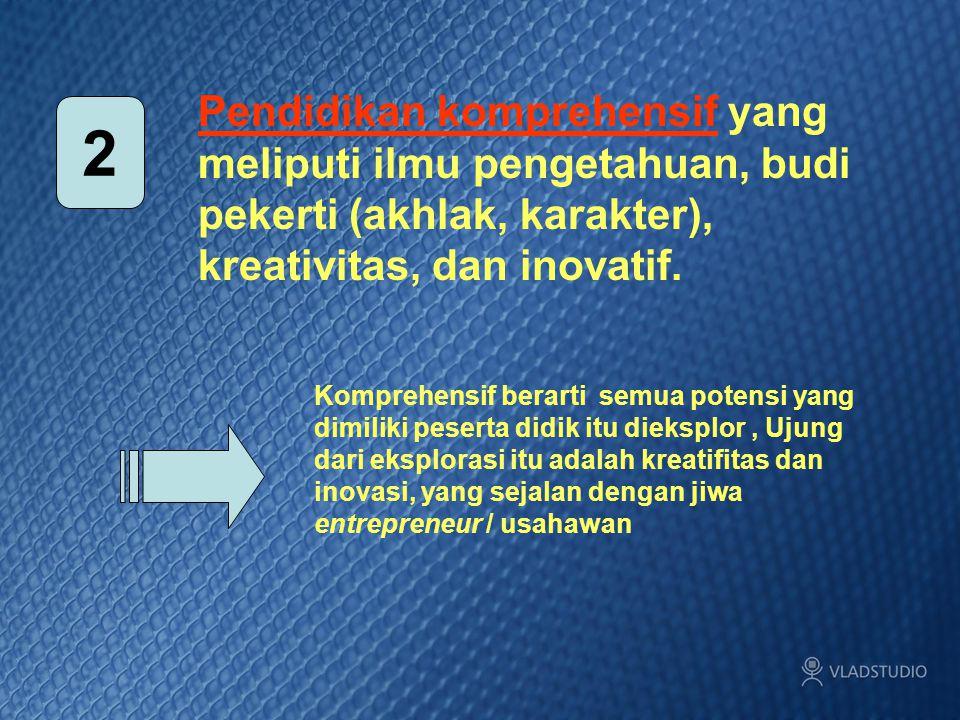 Pendidikan komprehensif yang meliputi ilmu pengetahuan, budi pekerti (akhlak, karakter), kreativitas, dan inovatif.