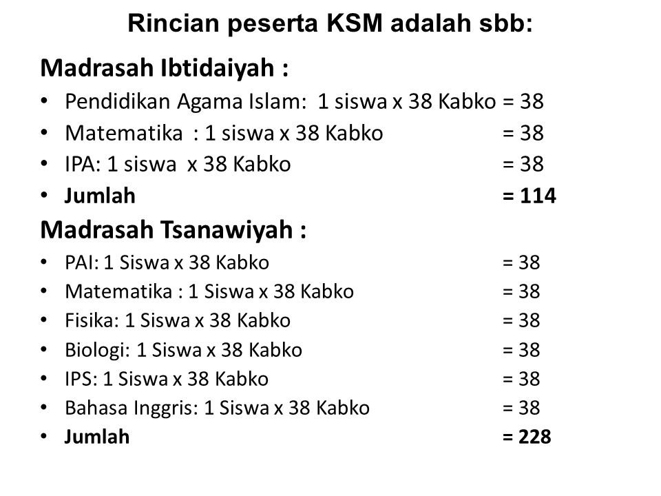 Rincian peserta KSM adalah sbb: