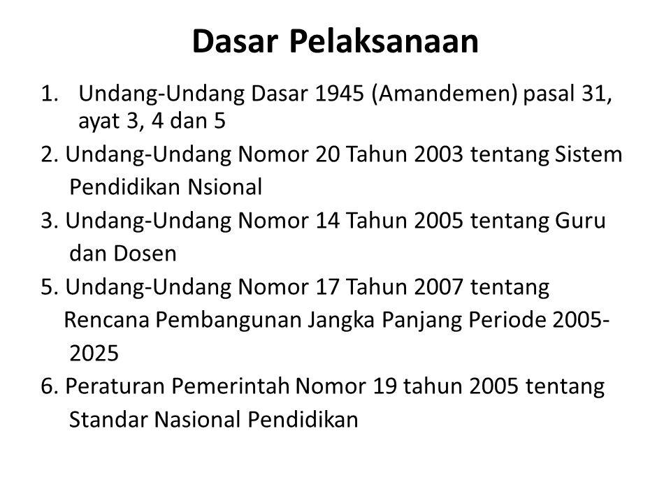 Dasar Pelaksanaan Undang-Undang Dasar 1945 (Amandemen) pasal 31, ayat 3, 4 dan 5. 2. Undang-Undang Nomor 20 Tahun 2003 tentang Sistem.