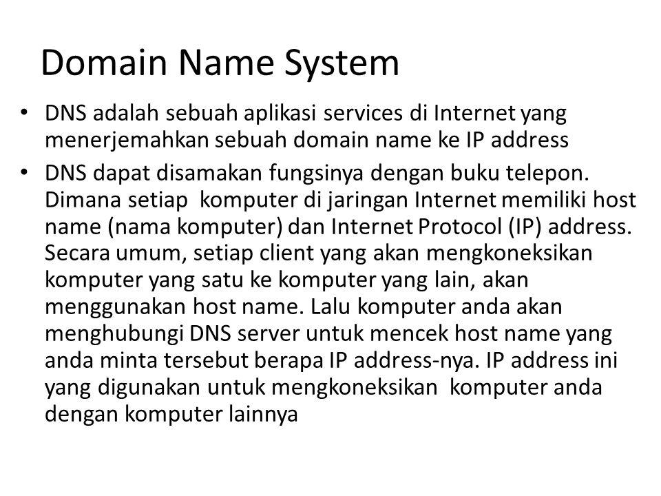 Domain Name System DNS adalah sebuah aplikasi services di Internet yang menerjemahkan sebuah domain name ke IP address.