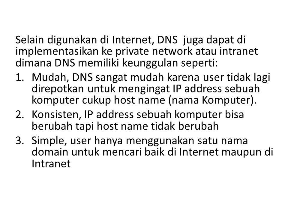 Selain digunakan di Internet, DNS juga dapat di implementasikan ke private network atau intranet dimana DNS memiliki keunggulan seperti: