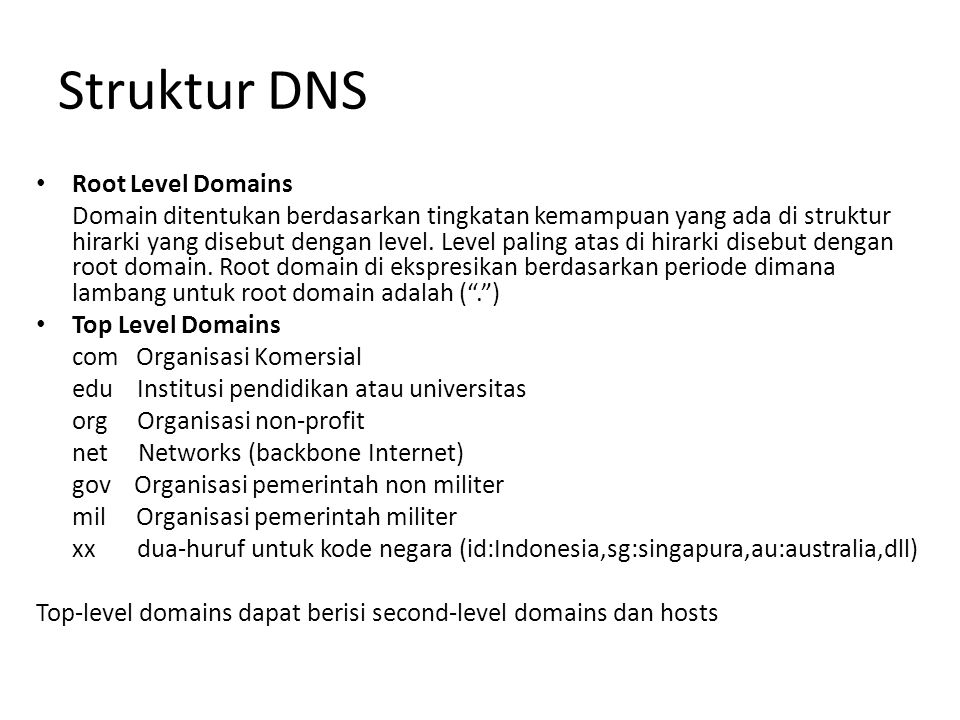 Struktur DNS Root Level Domains