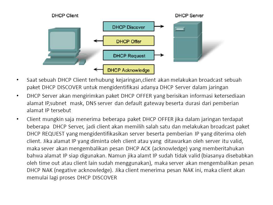 Saat sebuah DHCP Client terhubung kejaringan,client akan melakukan broadcast sebuah paket DHCP DISCOVER untuk mengidentifikasi adanya DHCP Server dalam jaringan
