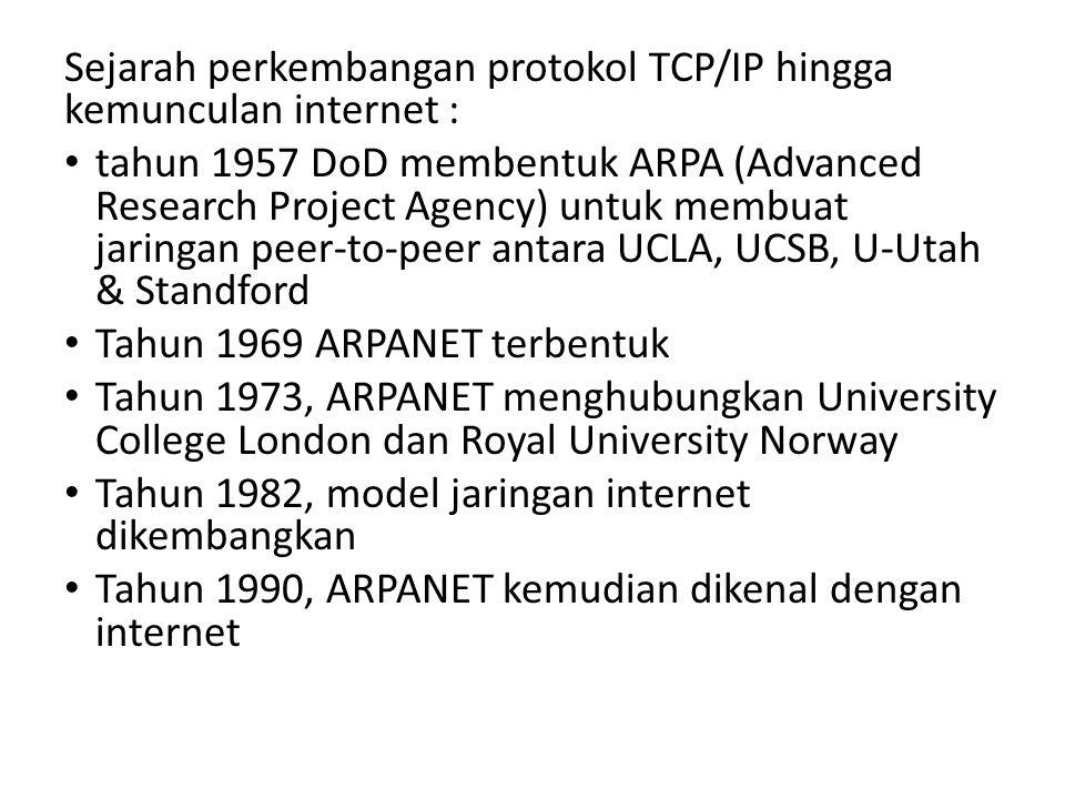 Sejarah perkembangan protokol TCP/IP hingga kemunculan internet :