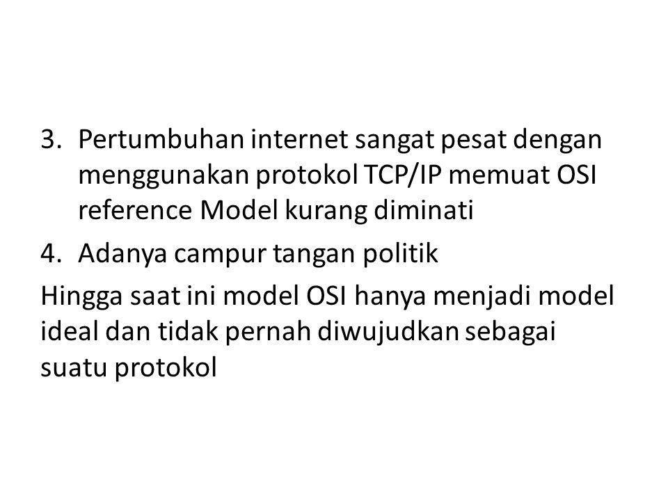 Pertumbuhan internet sangat pesat dengan menggunakan protokol TCP/IP memuat OSI reference Model kurang diminati
