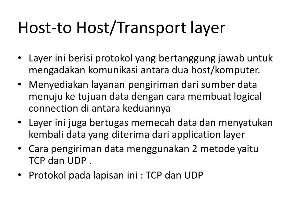 Host-to Host/Transport layer