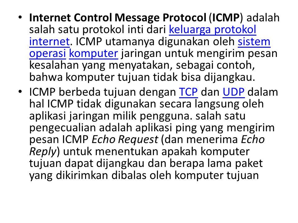 Internet Control Message Protocol (ICMP) adalah salah satu protokol inti dari keluarga protokol internet. ICMP utamanya digunakan oleh sistem operasi komputer jaringan untuk mengirim pesan kesalahan yang menyatakan, sebagai contoh, bahwa komputer tujuan tidak bisa dijangkau.