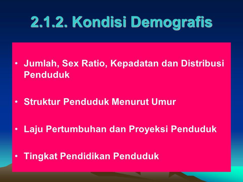 2.1.2. Kondisi Demografis Jumlah, Sex Ratio, Kepadatan dan Distribusi Penduduk. Struktur Penduduk Menurut Umur.
