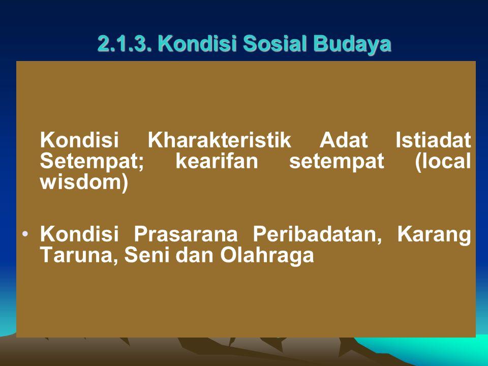 2.1.3. Kondisi Sosial Budaya Kondisi Kharakteristik Adat Istiadat Setempat; kearifan setempat (local wisdom)