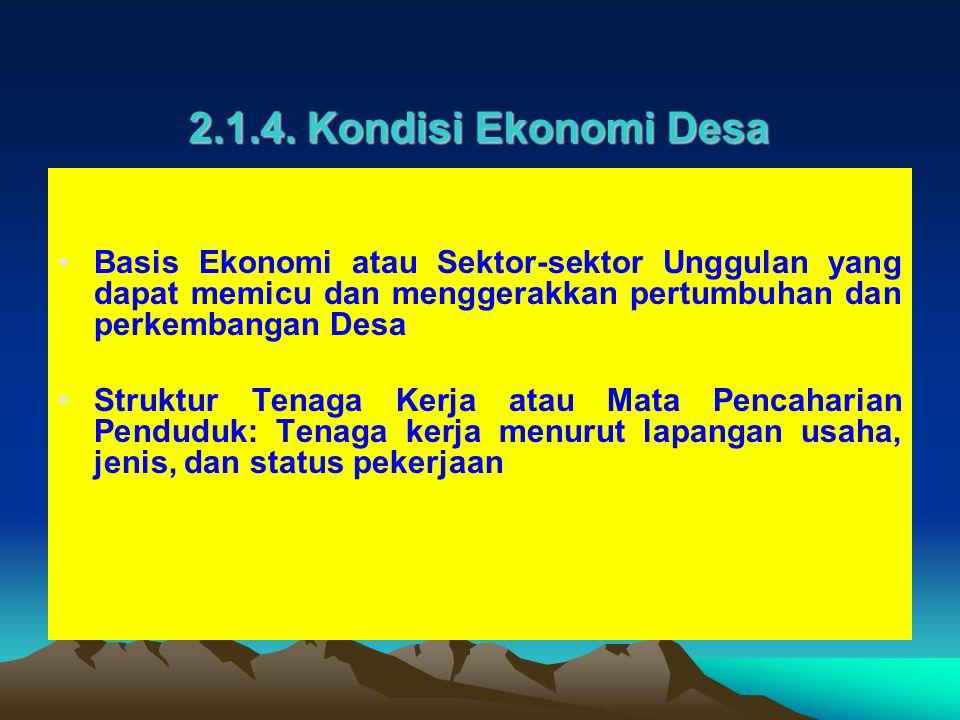 2.1.4. Kondisi Ekonomi Desa Basis Ekonomi atau Sektor-sektor Unggulan yang dapat memicu dan menggerakkan pertumbuhan dan perkembangan Desa.