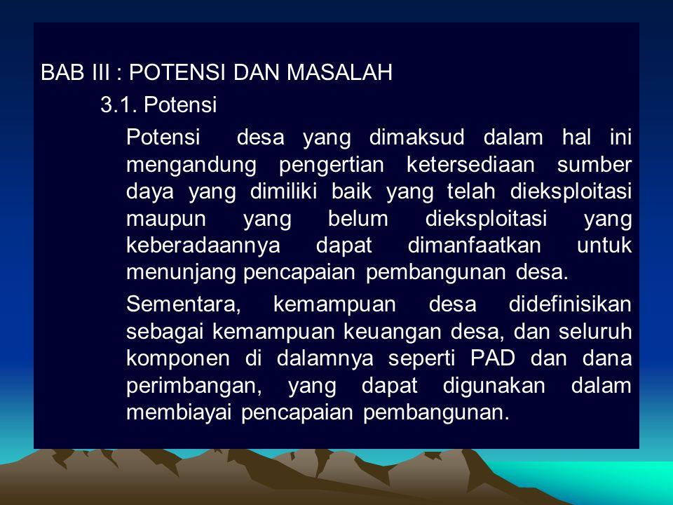 BAB III : POTENSI DAN MASALAH 3. 1