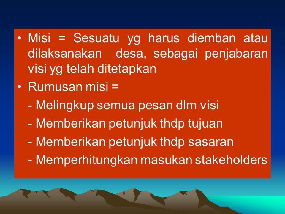 Misi = Sesuatu yg harus diemban atau dilaksanakan desa, sebagai penjabaran visi yg telah ditetapkan