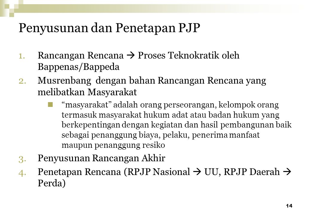 Penyusunan dan Penetapan PJP