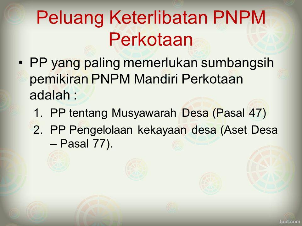 Peluang Keterlibatan PNPM Perkotaan