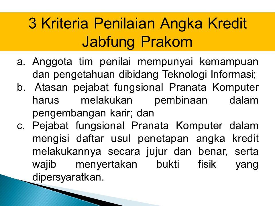 3 Kriteria Penilaian Angka Kredit Jabfung Prakom