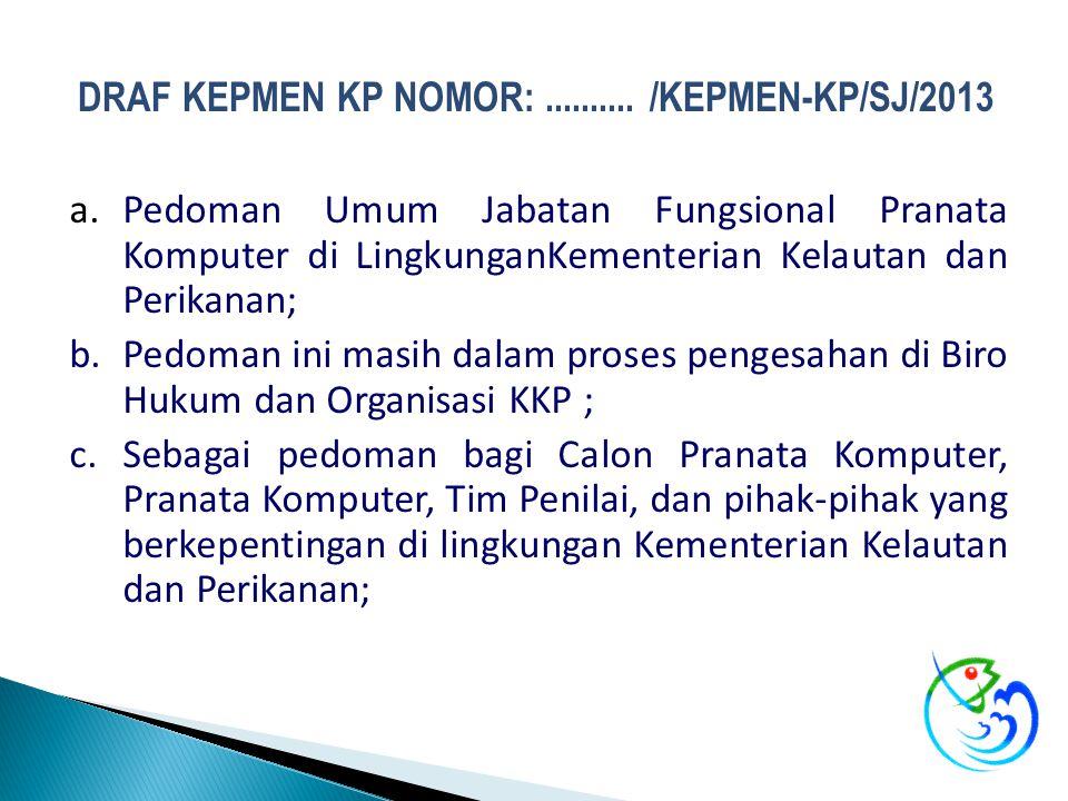 DRAF KEPMEN KP NOMOR: .......... /KEPMEN-KP/SJ/2013