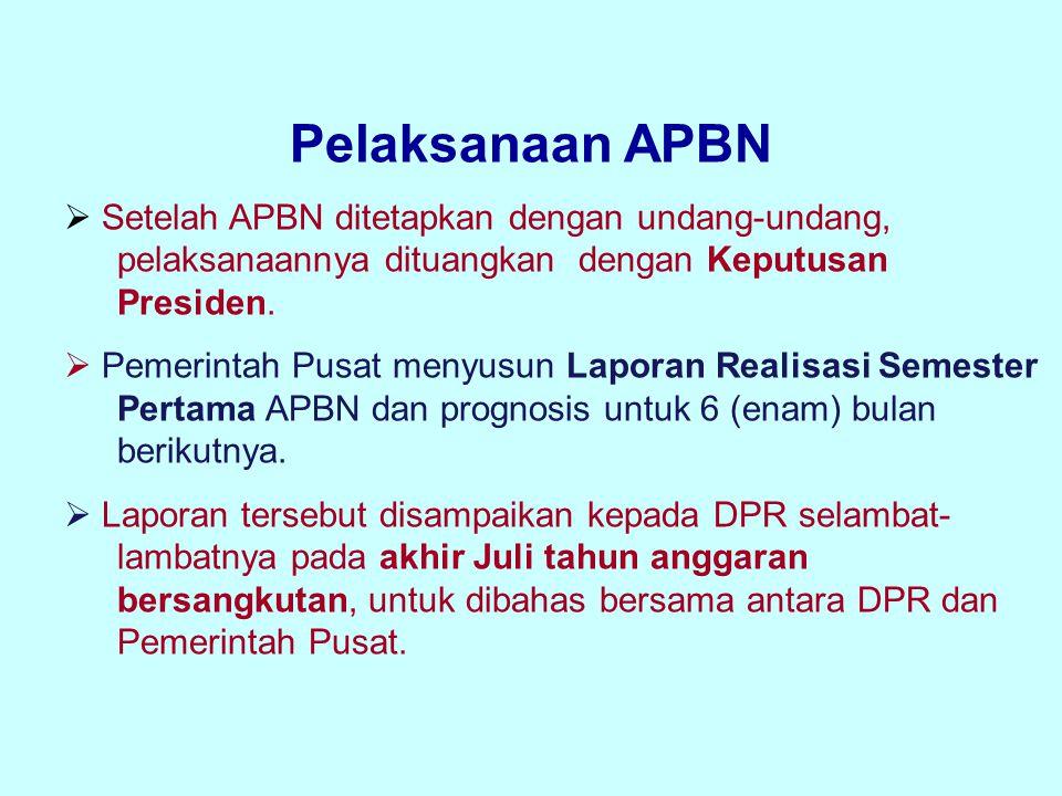 Pelaksanaan APBN Setelah APBN ditetapkan dengan undang-undang, pelaksanaannya dituangkan dengan Keputusan Presiden.