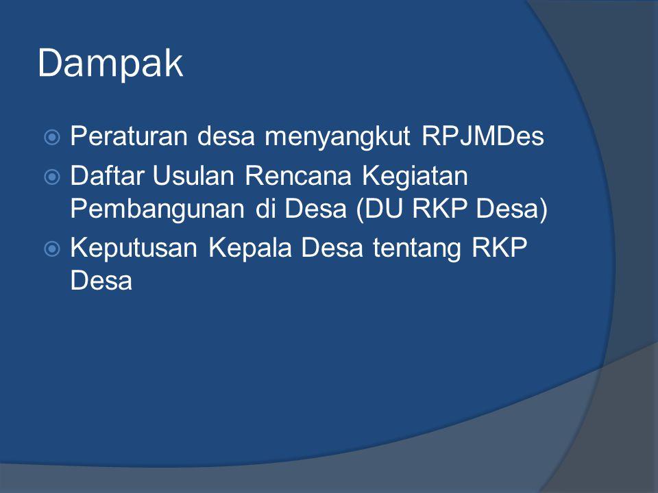 Dampak Peraturan desa menyangkut RPJMDes
