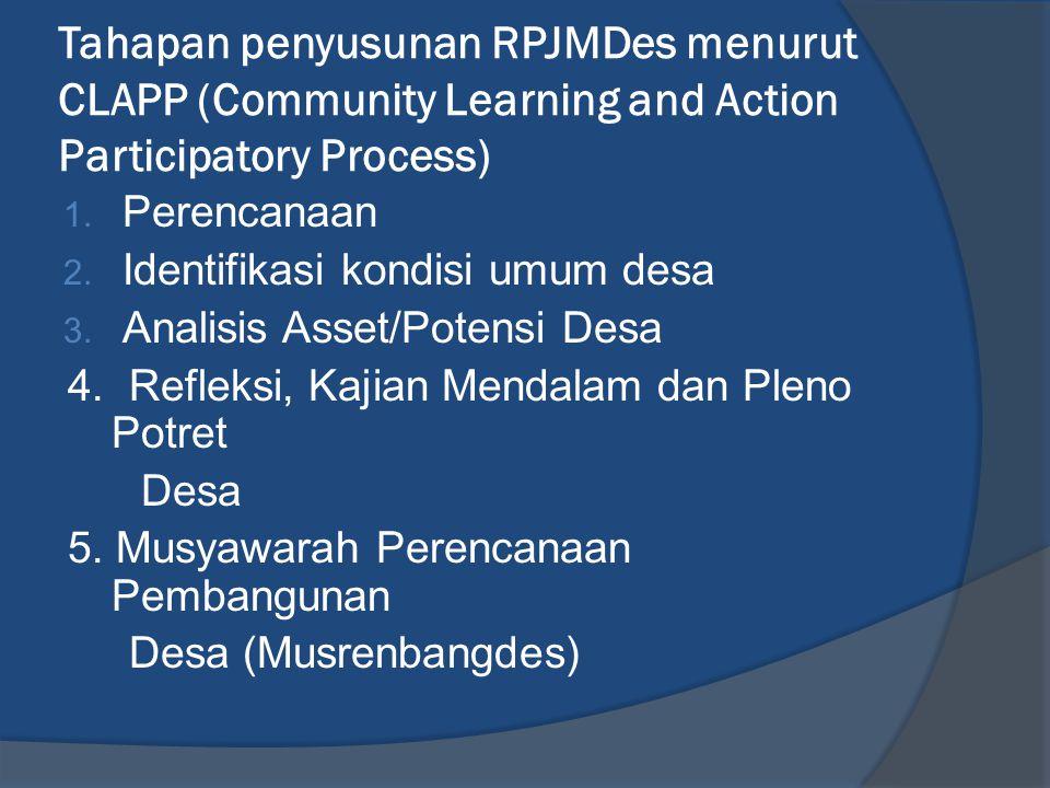 Tahapan penyusunan RPJMDes menurut CLAPP (Community Learning and Action Participatory Process)