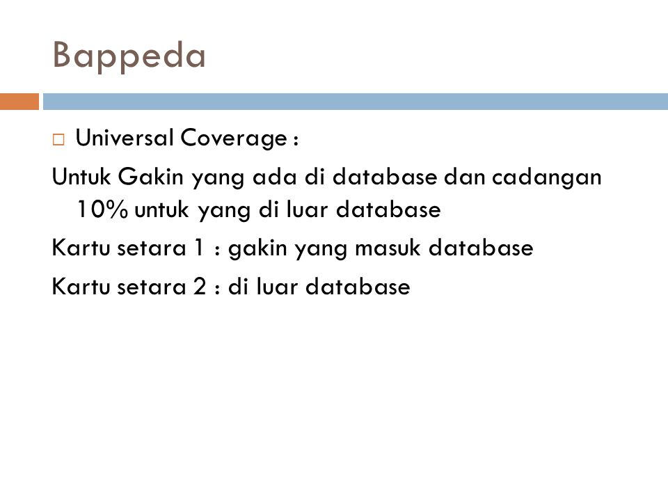 Bappeda Universal Coverage :