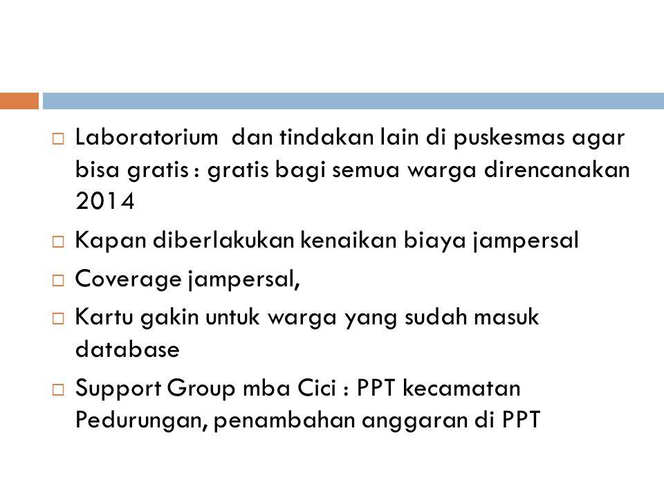 Laboratorium dan tindakan lain di puskesmas agar bisa gratis : gratis bagi semua warga direncanakan 2014