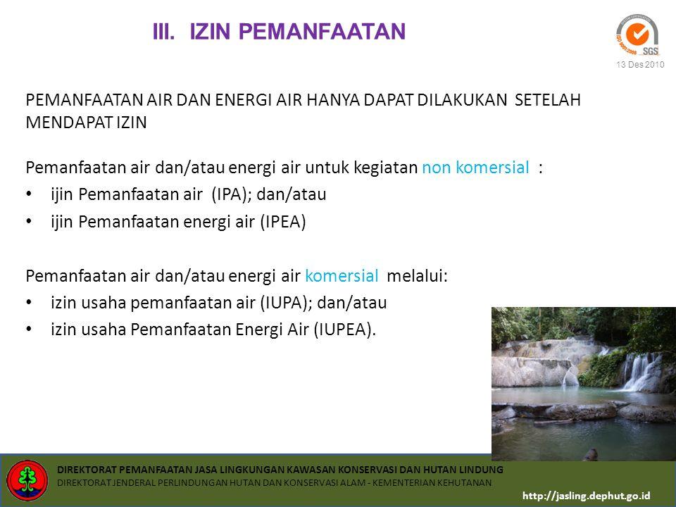 III. IZIN PEMANFAATAN PEMANFAATAN AIR DAN ENERGI AIR HANYA DAPAT DILAKUKAN SETELAH. MENDAPAT IZIN.