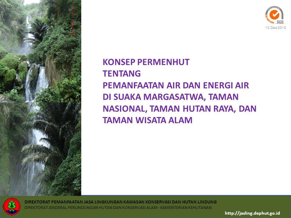 KONSEP PERMENHUT TENTANG PEMANFAATAN AIR DAN ENERGI AIR DI SUAKA MARGASATWA, TAMAN NASIONAL, TAMAN HUTAN RAYA, DAN TAMAN WISATA ALAM