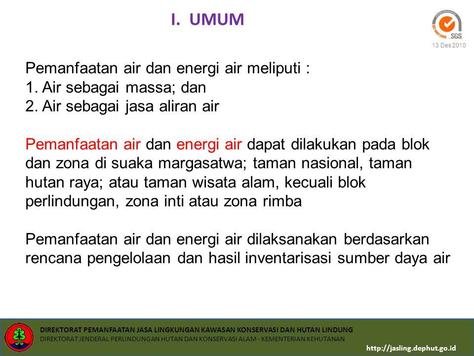 I. UMUM Pemanfaatan air dan energi air meliputi :